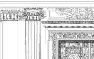 Rekonstruktionszeichnung des großen Sternsaal-Portals. Zeichnung: Fabian Hegholz