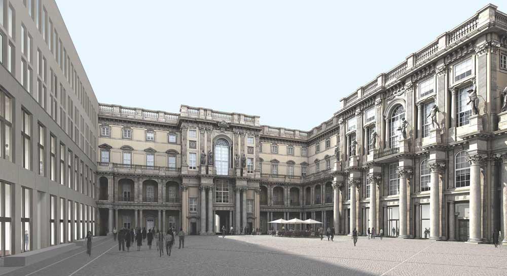 Der Schlüterhof – mit drei rekonstruierten barocken Flügeln und dem modernen westlichen Flügel. Quelle: Franco Stella