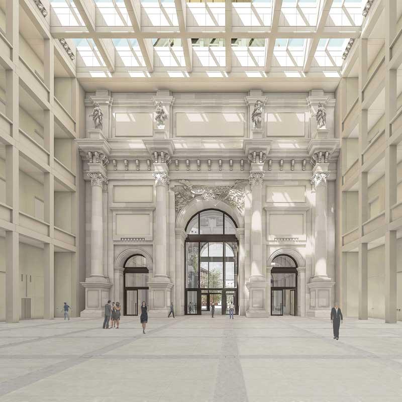 Das Humboldt-Foyer – mit dem rekonstruierten barocken Triumphbogen-Portal und den modernen Galerien. Quelle: Franco Stella